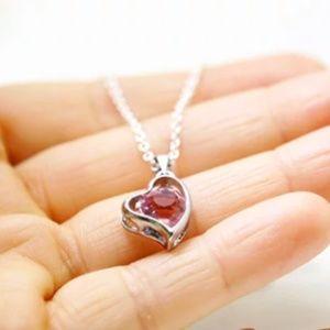 Handmade Jewelry - Heart W/Crystal Necklace/Bracelet, Handmade 🌸